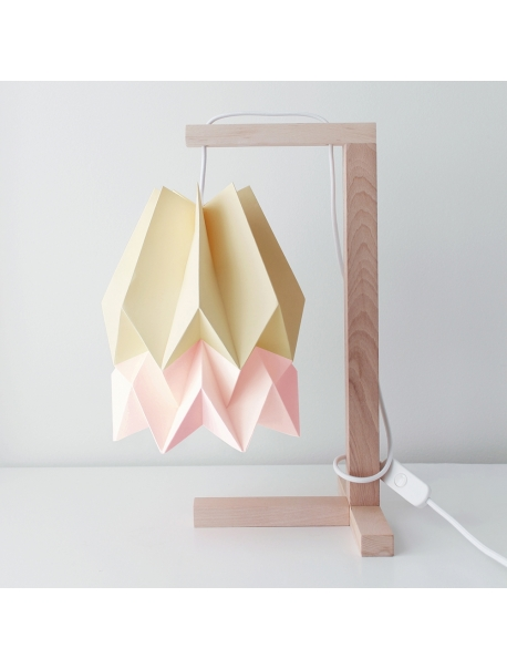Table Lamp Pale Yellow with Pastel Pink Stripe
