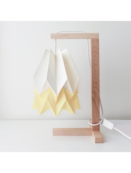 Table Lamp Polar White with Pale Yellow Stripe