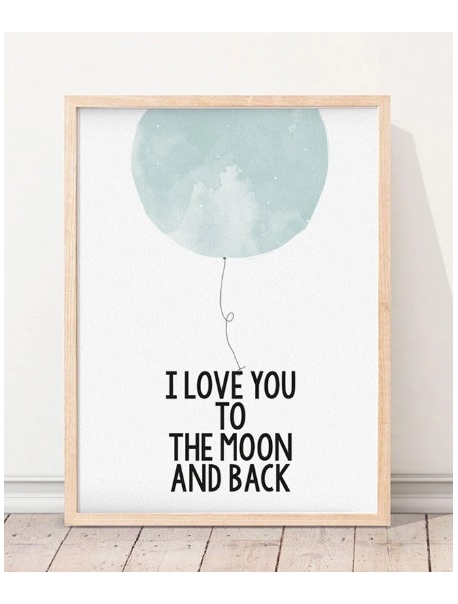 Ilustração Love You to The Moon Blue