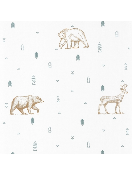 Papel Grizzly Bears Green-Beige