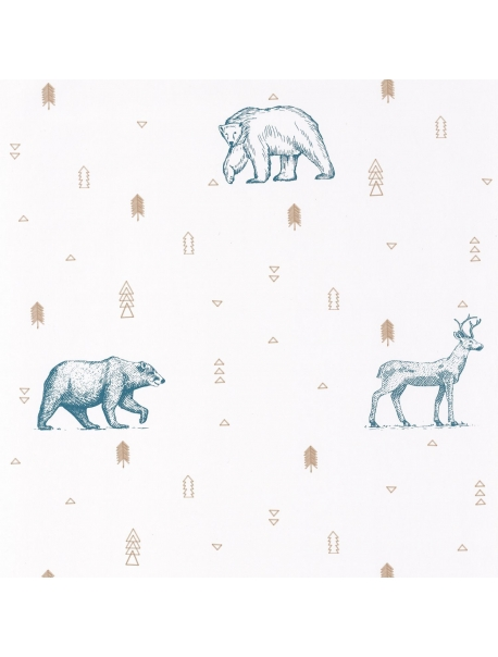 Papel Grizzly Bears Blue-Beige